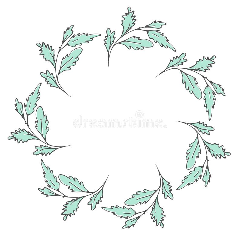Hand drawn wreath made in vector. stock image
