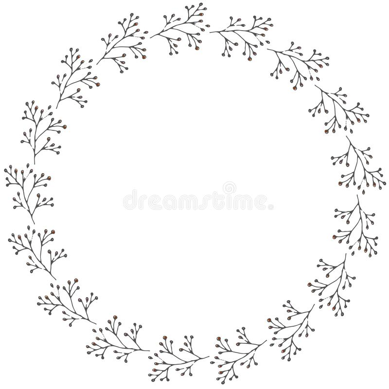 Hand drawn wreath made in vector. stock photography