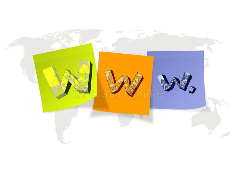 Hand drawn WWW. on sticky notes and world map. Background as internet concept vector illustration