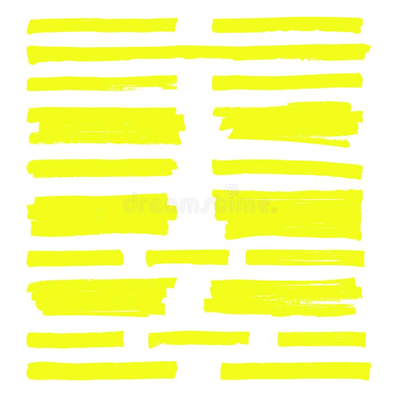 Hand drawn yellow highlight marker lines. Highlighter strokes isolated on white background vector set stock illustration