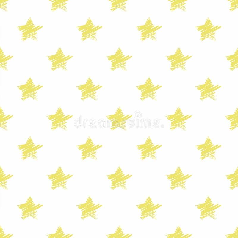 Hand drawn yellow stars seamless pattern. royalty free illustration
