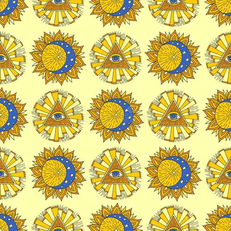 Hand drawn yellow sun planet esoteric occult mystic seamless pattern background star vector illustration. Hand drawn yellow sun esoteric occult mystic planet vector illustration