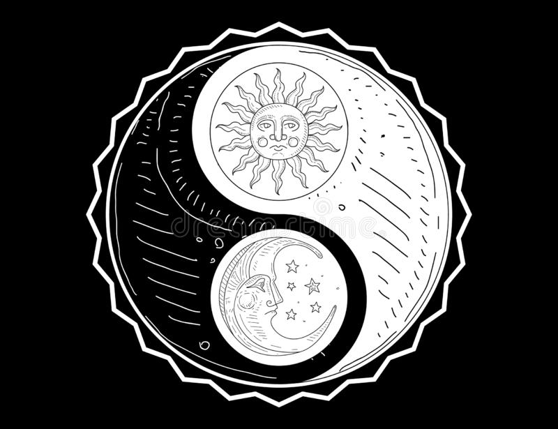 Hand Drawn Yin Yang Symbol, Sun and Moon with Face Monochrome Vector Illustration vector illustration