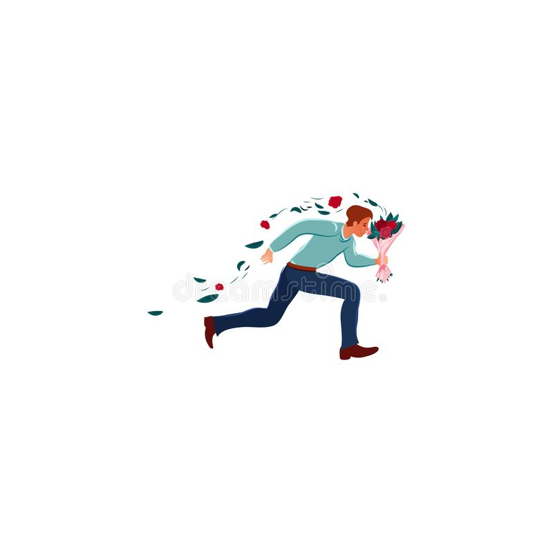 Young man running and holding flowers vector illustration. Hand drawn young man in love running, holding flowers and being in hurry to meet his girlfriend over stock illustration