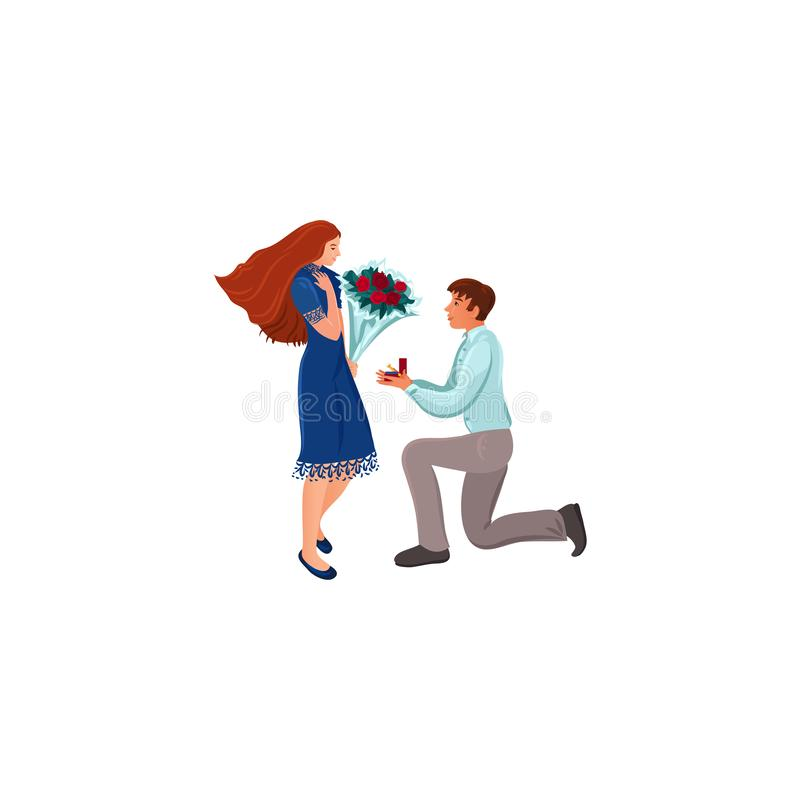 Young man making proposal to his girlfriend vector illustration. Hand drawn young man sitting on his knee and making official proposal to his girlfriend over royalty free illustration