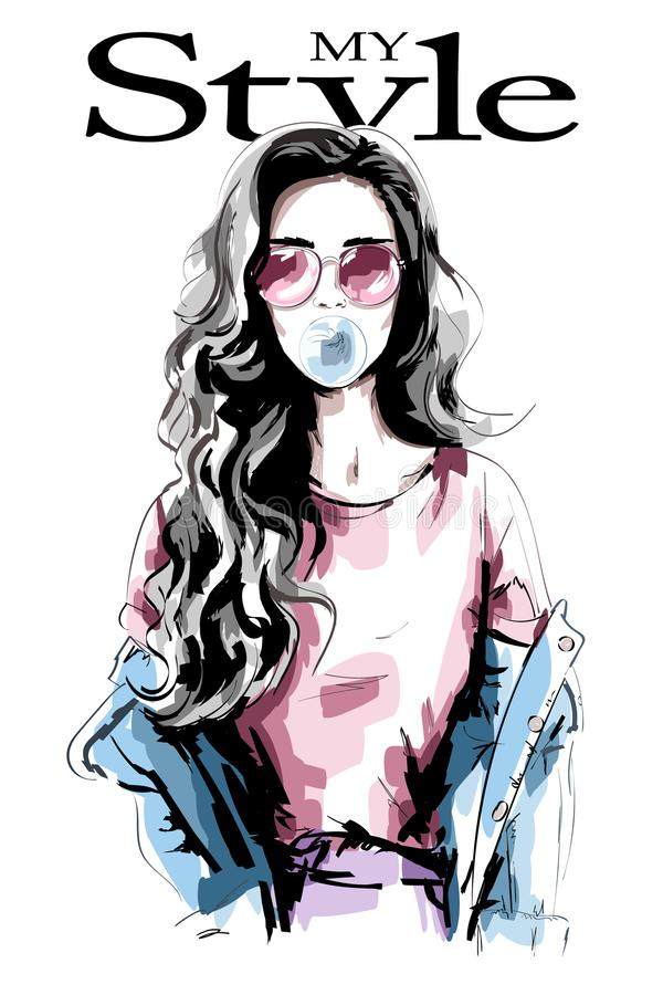 Hand drawn young woman with chewing gum. Beautiful woman portrait. Cute girl with long hair. Fashion woman in casual clothing. royalty free illustration