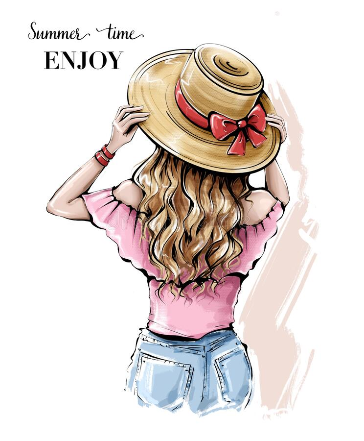 Free Hand Drawn Young Woman In Summer Hat. Beautiful Blonde Hair Girl. Girl With Beautiful Long Hair. Royalty Free Stock Images - 196020329