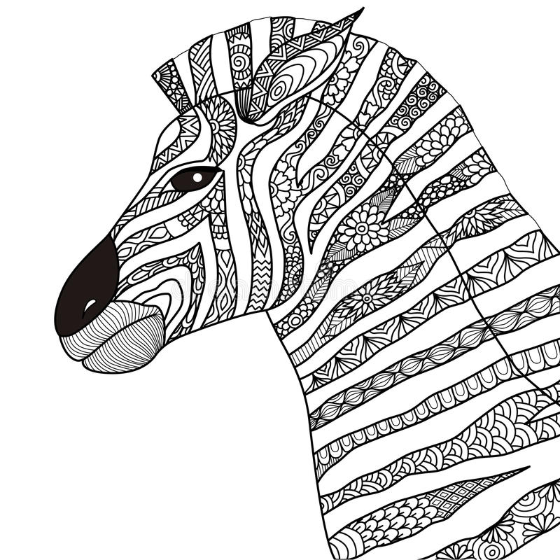 Hand Drawn Zebra Zentangle Style For Coloring Book,tattoo,t Shirt ...