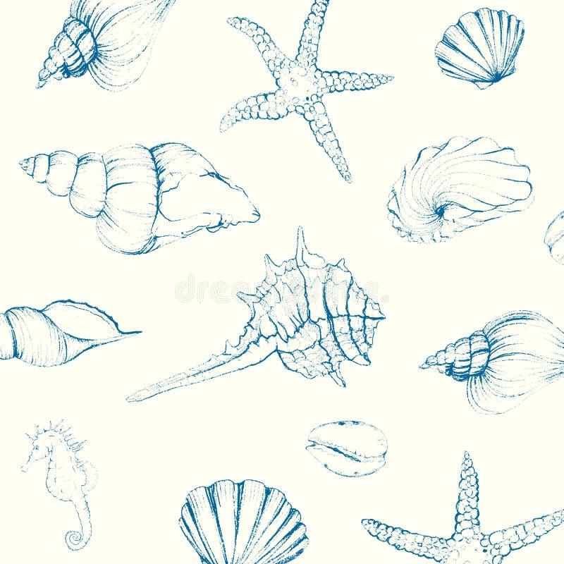 Hand-drawn Zeeschelpen vector illustratie