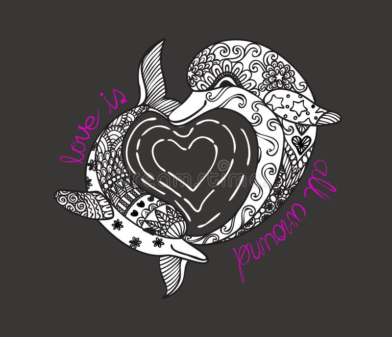 Hand drawn zen art of two cute dolphins with hearted shape sea wave and slogan LOVE IS ALL AROUND for t shirt printing and embroid royalty free illustration