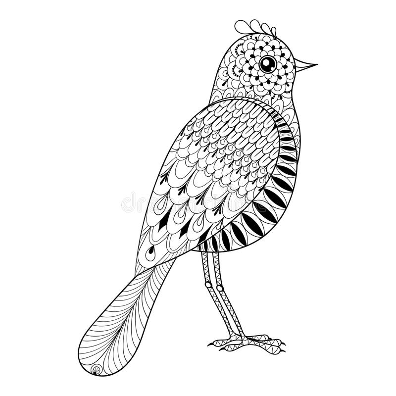 Download Hand Drawn Zentangle Artistic Bird For Adult Antistress Coloring Stock Vector