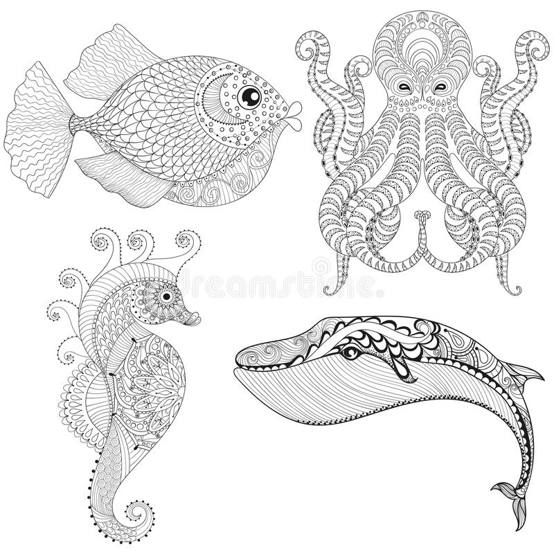 Hand drawn zentangle artistic Octopus, Sea Horse, Whale, Fish for adult therapy coloring pages, ethnic t-shirt print. Ocean royalty free illustration