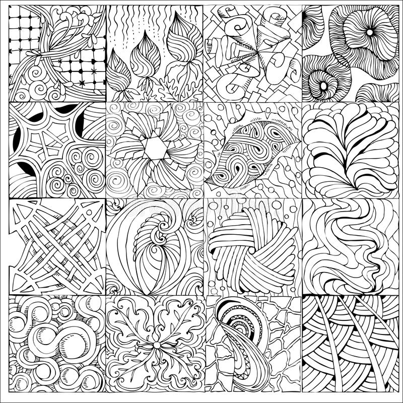 Hand drawn zentangle background for coloring page stock illustration