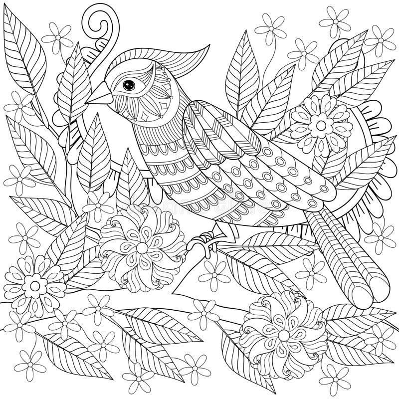 Download hand drawn zentangle bird sitting on blooming tree branch for ad stock vector illustration