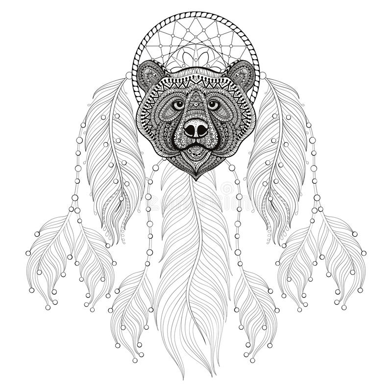 Hand Drawn Zentangle Dreamcatcher With Bear Head For Adult