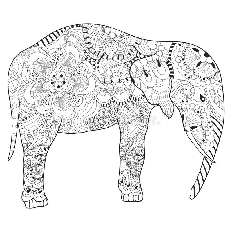 Download Hand Drawn Zentangle Elephant With Mandala For Adult Antistress Stock Vector