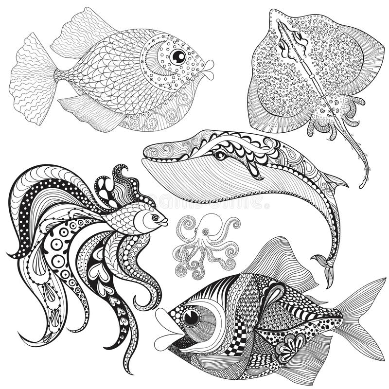 Hand drawn zentangle Fishes, Whale, Octopus, Stingray for adult. Anti stress coloring pages,mehendi t-shirt print, logo icon. sea animals set, illustration in vector illustration