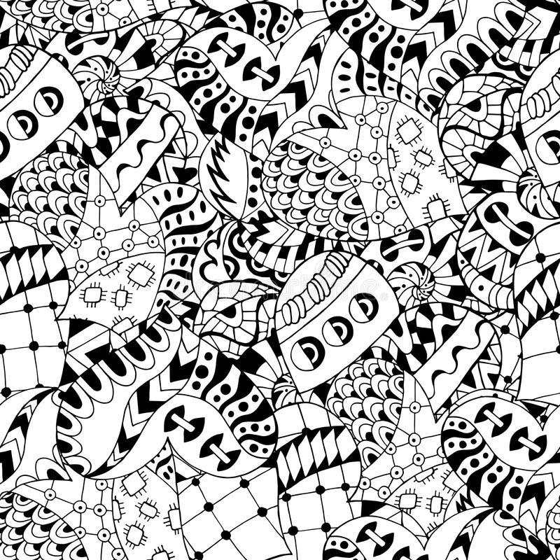 Hand drawn zentangle hearts for adult anti stress. royalty free illustration