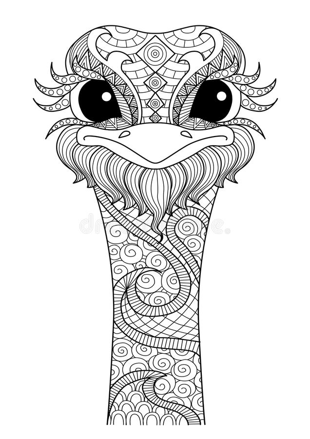 Hand drawn zentangle ostrich. For colouring book,shirt design,logo,tattoo royalty free illustration