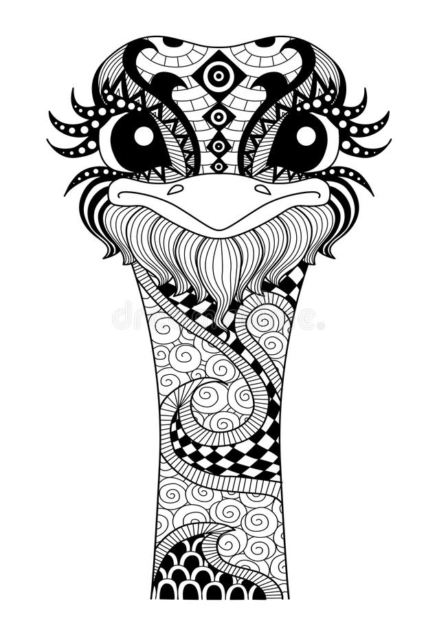 Hand drawn zentangle ostrich stock illustration