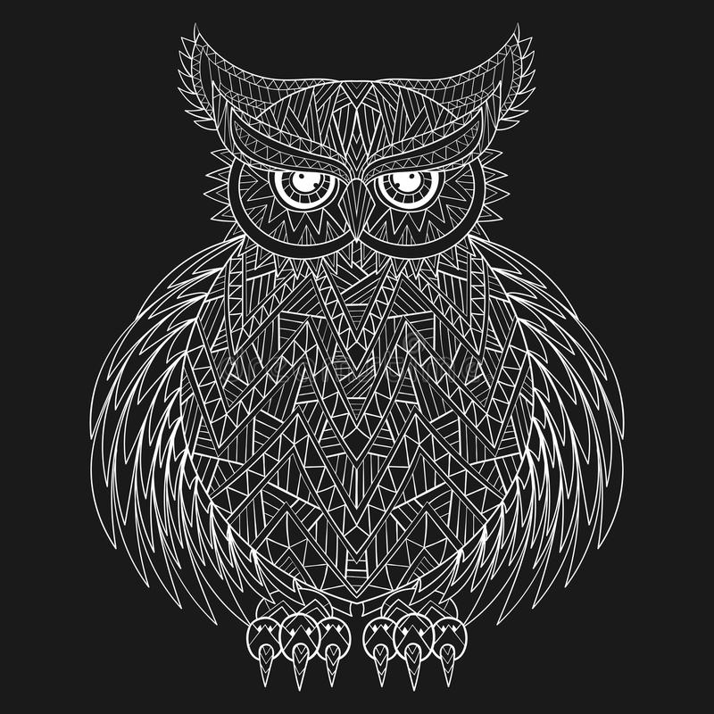 Hand drawn zentangle Owl, bird totem for adult Coloring Page in stock illustration