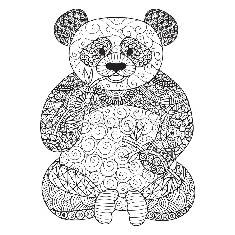 Hand drawn zentangle panda for coloring book for adult,tattoo, shirt design,logo and so on stock illustration
