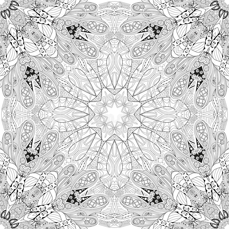 Hand drawn zentangle seamleaa pattern for coloring page. vector illustration