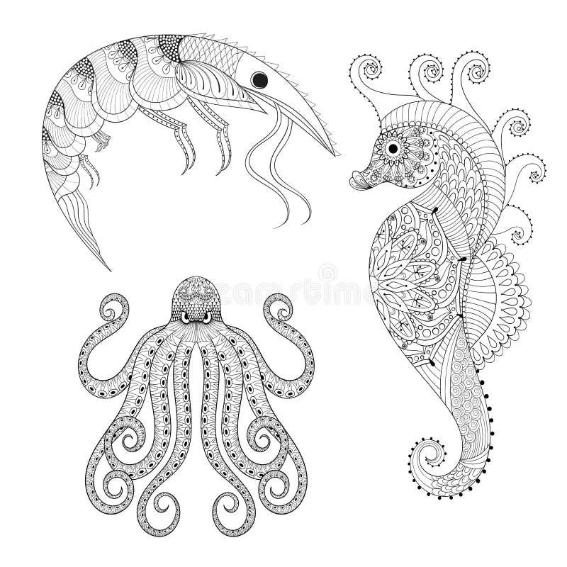 Hand drawn zentangle Shrimp, Sea Horse, Octopus for adult anti s stock illustration