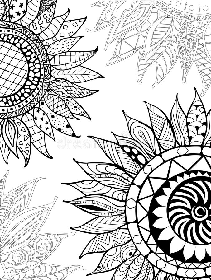 Coloring Pictures Of Sunflowers. Download Hand Drawn Zentangle Sunflowers Ornament For Coloring Book Stock  Vector Illustration of graphic