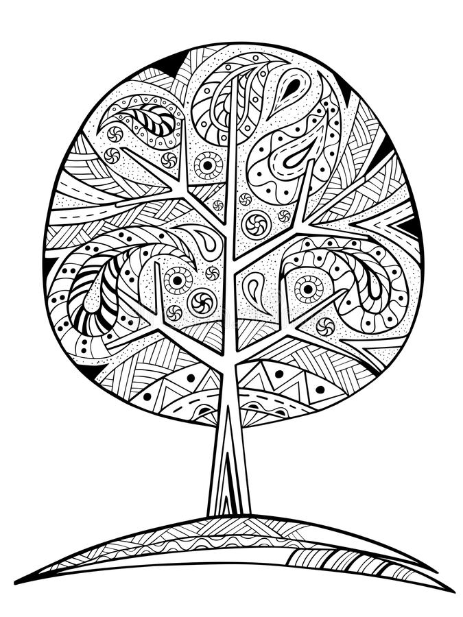 Hand Drawn Zentangle Tree For Coloring Book Stock Vector