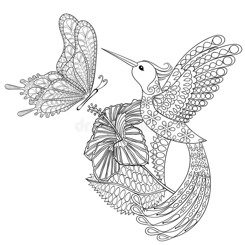 Free Hand Drawn Zentangle Tribal Flying Butterfly, Hummingbird In Hibiskus For Adult Anti Stress Coloring Pages, T-shirt Print. Stock Photo - 71760900