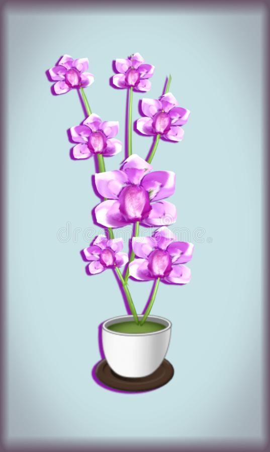 hand drawnd pink orchids royalty free stock photos