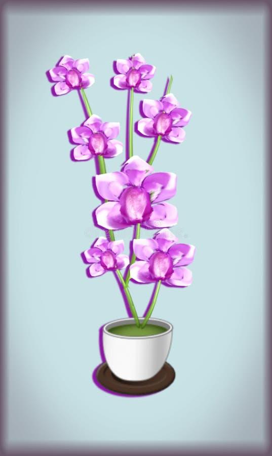 hand drawnd roze orchideeën royalty-vrije stock foto's