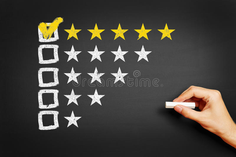Hand draws concept for feedback with five stars stock photos