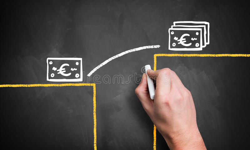 Hand draws infographic how to close a gap to a higher monetary level. Hand draws diagram how to close a gap to a higher monetary level royalty free stock images