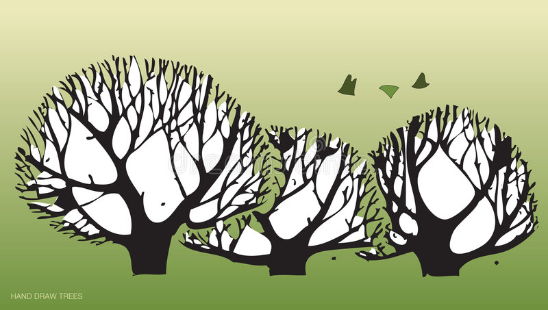 Hand Draws Trees And Environment 2 Stock Image