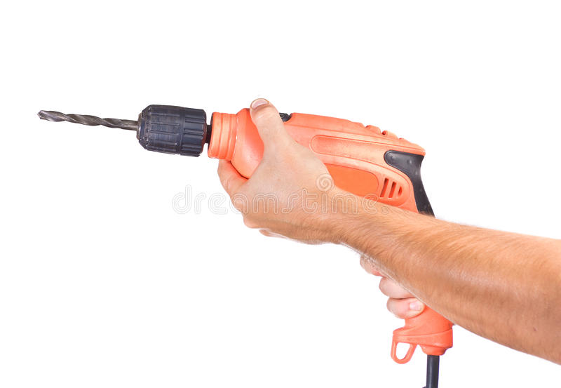 Hand with a drill royalty free stock images