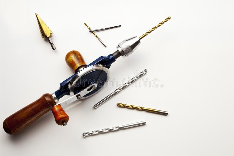 Hand Drill with Drill bits stock photos