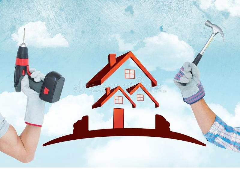 Hand with drill and hand with hammer with red house on sky background stock images