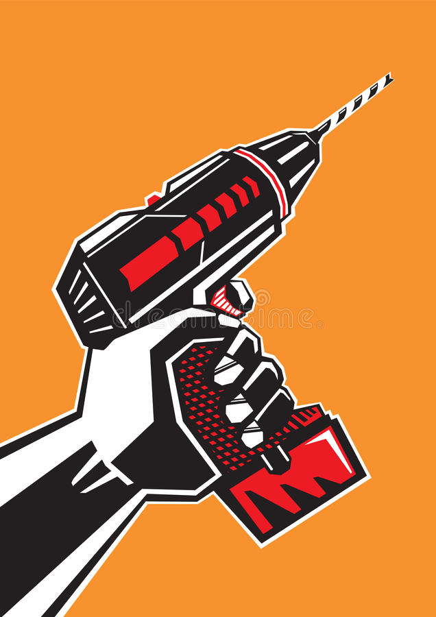 Hand with a drill stock illustration
