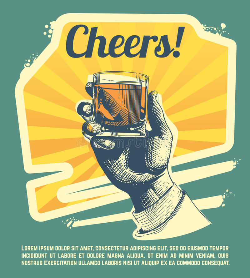 Hand with drink glass. Retro vector party poster stock illustration