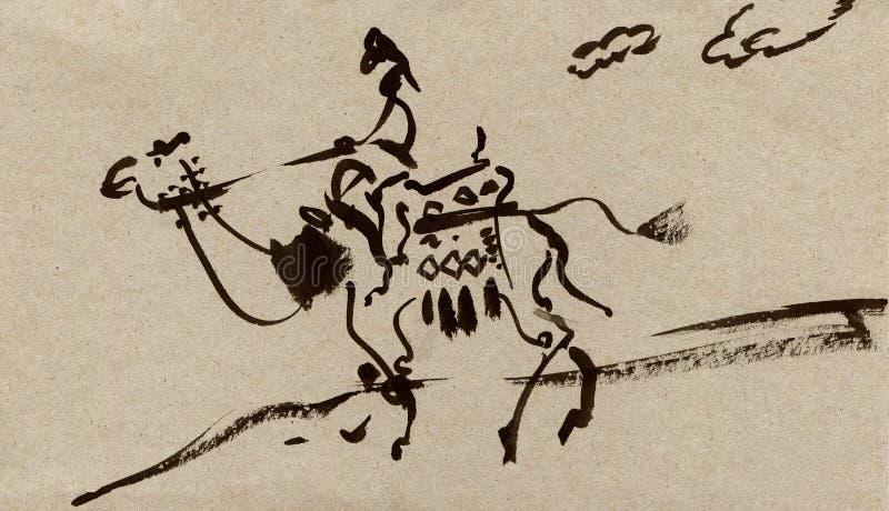 Hand drog öken-, kamel- och arabmän Målningdiagramillustration royaltyfri illustrationer