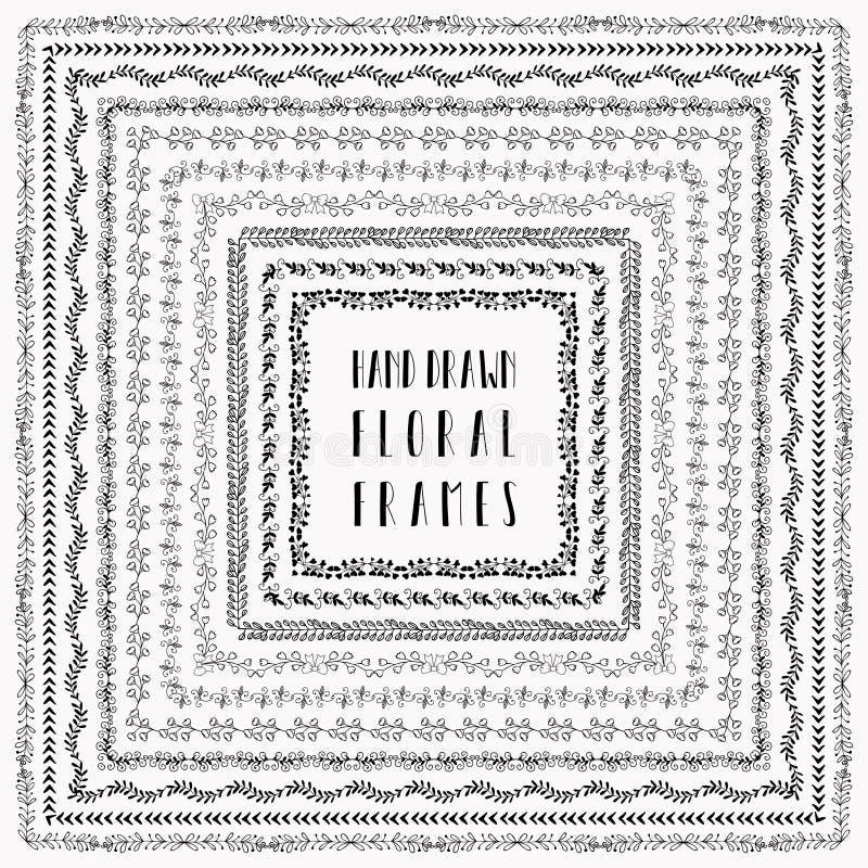 Hand-drog abstrakta klotterramar för vektor svart royaltyfri illustrationer