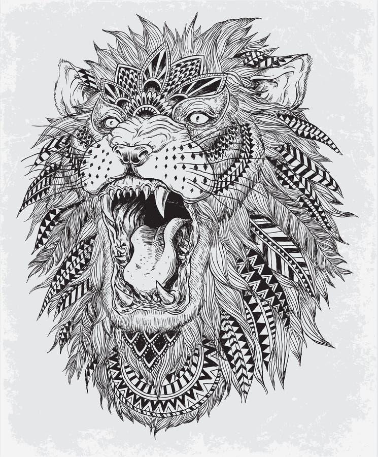 Hand drog abstrakta Lion Vector Illustration royaltyfri illustrationer