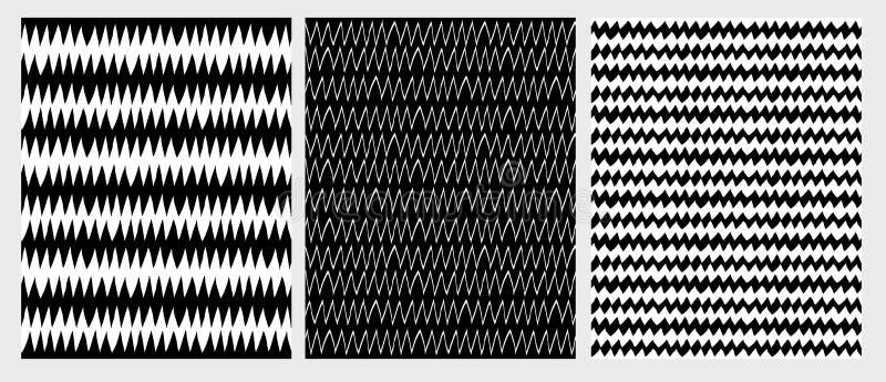 Hand drog abstrakta Zig Zag vektormodeller Svartvitt diagram stock illustrationer