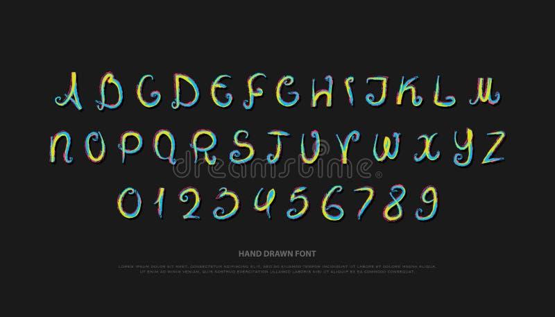 Hand drog alfabetbokstäver och nummer vektorborste, stilsortstyp vektor illustrationer