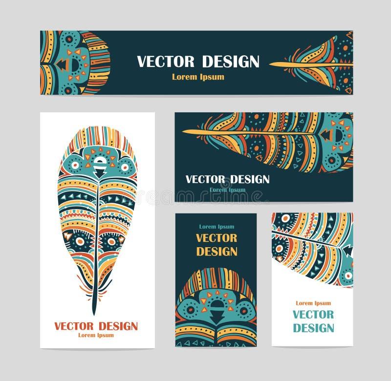 Hand drog aztec stilfjädrar Stam- designinbjudan och mall för affärskort vektor illustrationer