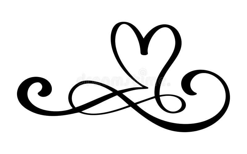 Hand drog beståndsdelar för formgivare för kalligrafi för jobbkort för hjärta för förälskelsegränskrusidull Vektortappningbröllop vektor illustrationer