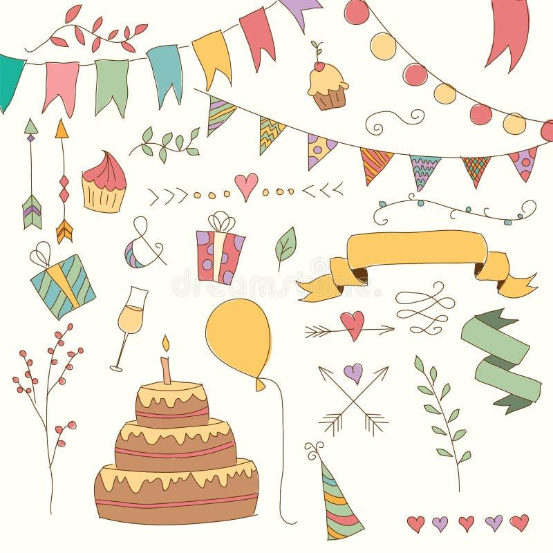 Hand drog beståndsdelar för tappningfödelsedagdesign, blommor och blom- beståndsdelar vektor illustrationer