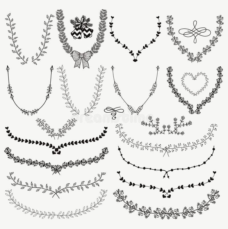Hand-drog blom- kransar, lager royaltyfri illustrationer